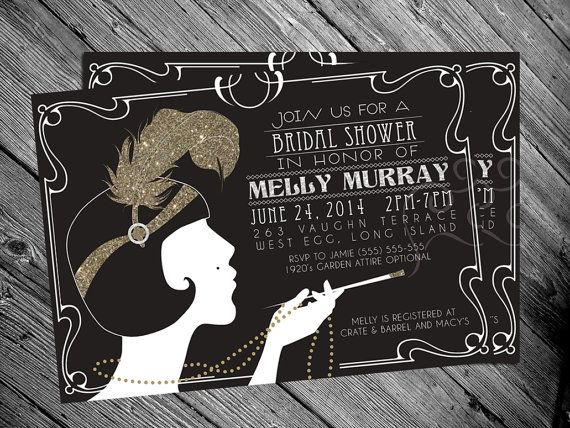 1920's Gatsby Flapper Bridal shower Invitation by MrsInvitation, $15.00  this sounds like a fun theme!!