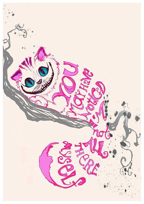 Alice in Wonderland Cheshire Cat- Minimalist Design – Quote print  – Traumbibliothek