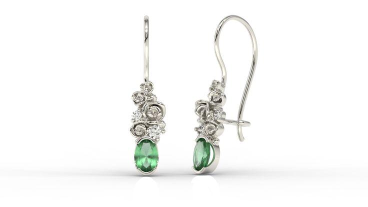 Kolczyki z białego złota z diamentami i szafirami/ Earrings made from white gold with sapphires and diamonds #earrings #sapphieres #diamonds #whitegold #woman #gift
