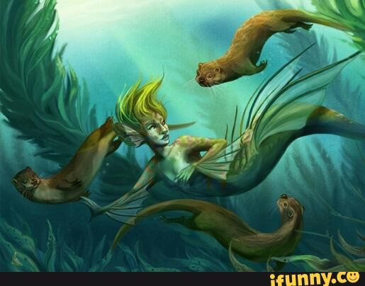 Otters with mermaid