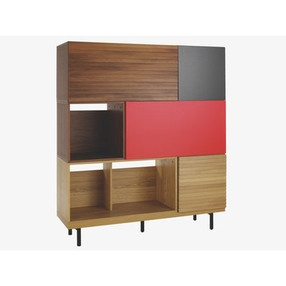 This cabinet is created by combining separate cubes to make a whole.  A crafty person with unfinished bookshelves, stick veneer, a base and some screws could make it!