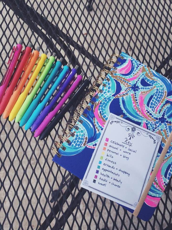 color coding & planner organization with lilly pulitzer agenda @katiemac0