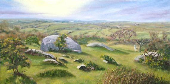 #Landscape Oil Print - A4 - Jubilee Rock, #Bodmin Moor, #Cornwall, 5% of profits to Cornwall Air Ambulance Trust