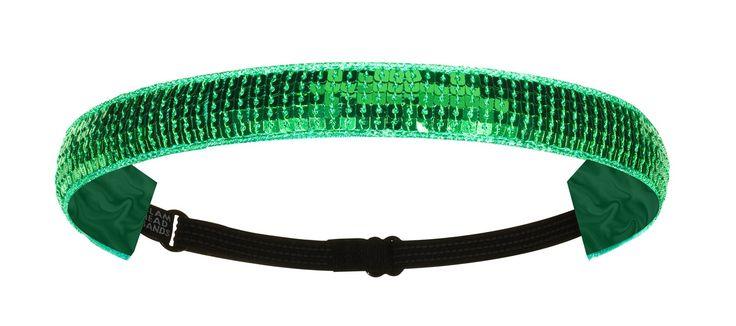 "1"" Emerald Green Sequin Non-Slip Adjustable Headband"