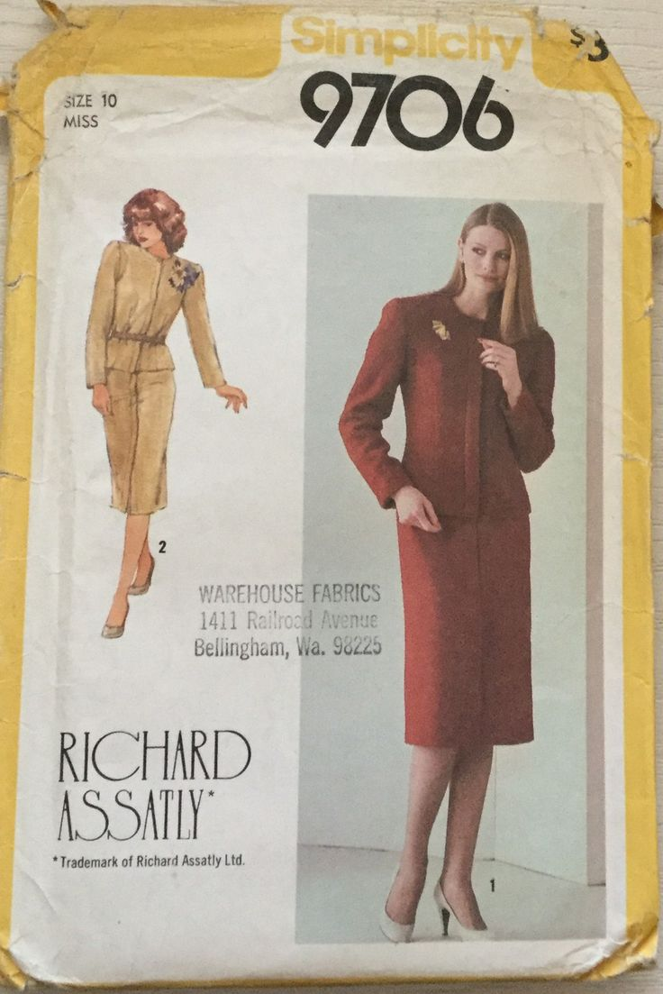 35 best creative concepts images on pinterest creative factory simplicity 9706 misses lined jacket straight skirt by richard assatly size 10 jeuxipadfo Gallery