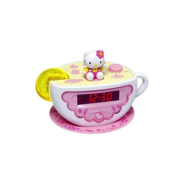 Hello Kitty Clock Radio with Night Light ❤ liked on Polyvore featuring home, home decor, clocks, hello kitty, room, radio alarm clock, hello kitty alarm clock, asian home decor and radio clock