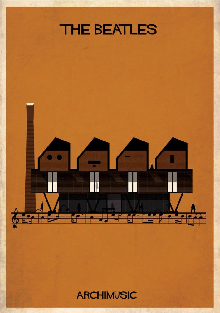 """ARCHIMUSIC: Illustrations Turn Music Into Architecture by Federico Babina - The Beatles, """"Let it be"""""""