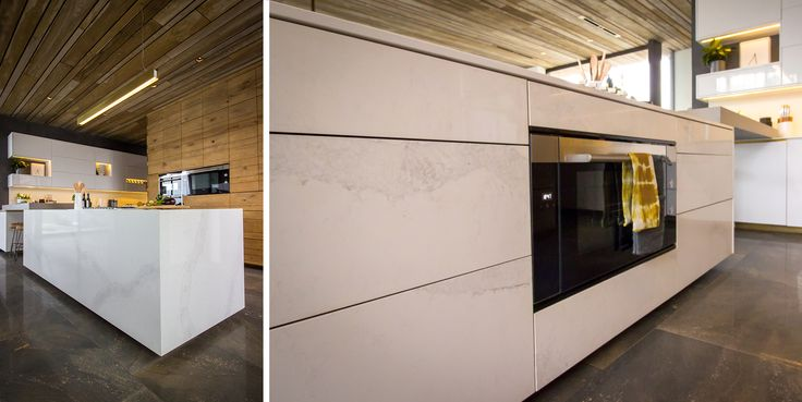 Caesarstone Calacatta Nuvo thin countertops, island cladding and backsplashes were a central feature of this gorgeous kitchen design.