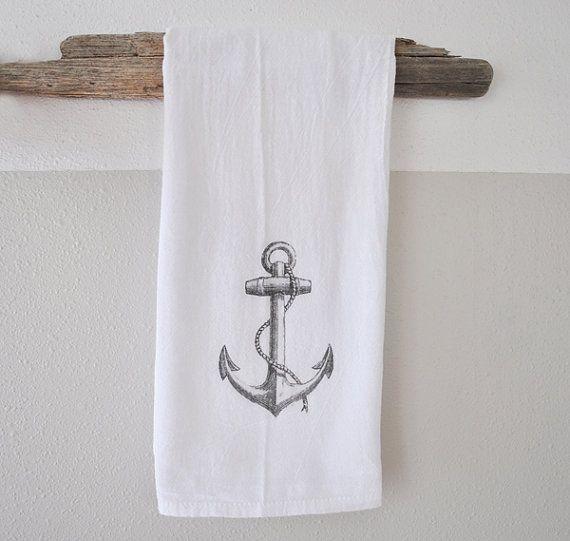 Anchor print - Hand Printed dish cloth - Kitchen Towel - hand towel - beach decor - nautical dish towel - nautical home decor - gift for her