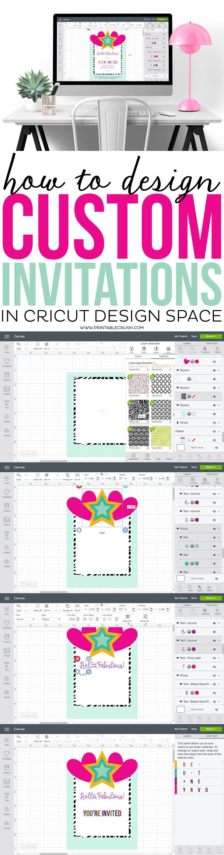 Learn to design custom invitations in Cricut Design Space from scratch! You'll learn how to flatten images for print and cut, plus get an overview of the most used CDS tools.