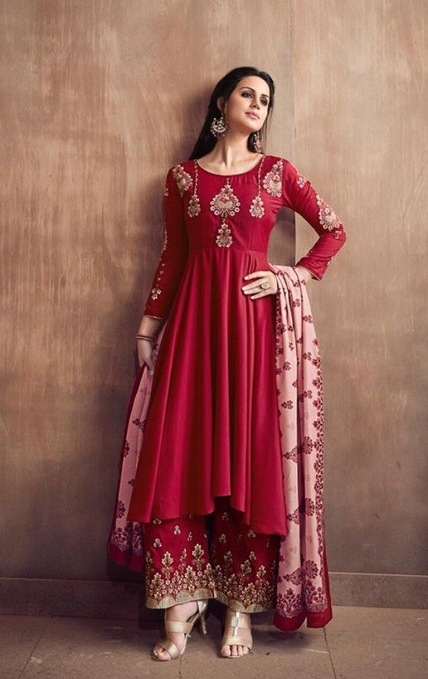 Stitched Readymade Muslin Kameez Plazzo Dupatta Indian Women Suit Size L Xl Xxl Ebay Designer Dresses Indian Party Wear Indian Wedding Outfits