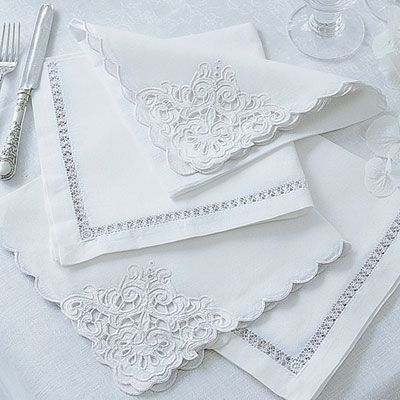 Linen & Cotton Mix Napkins with cutwork details - Cologne & Cotton