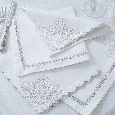 Linen & Cotton Mix Napkins with cutwork details - Cologne & Cotton