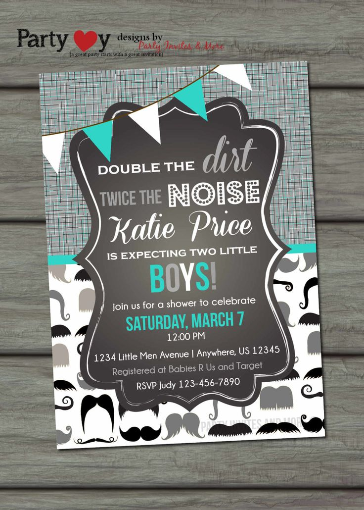 Twins Baby Shower Invitation Little Man by