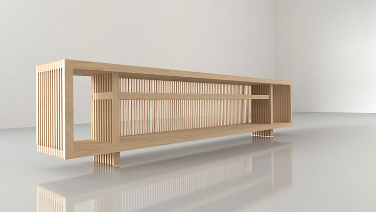 TV sideboard designed by decoaid. Maple wooden strips make for a pleasing tv sideboard. This sideboard comes with red copper inserts.