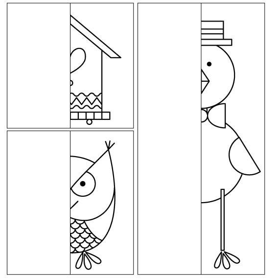 Coloring for kids. Complete Drawing the Halves