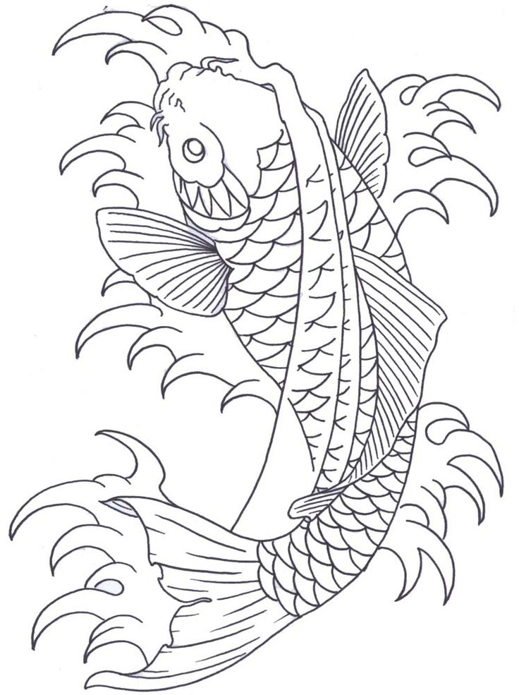 Koi fish drawing outline - photo#33