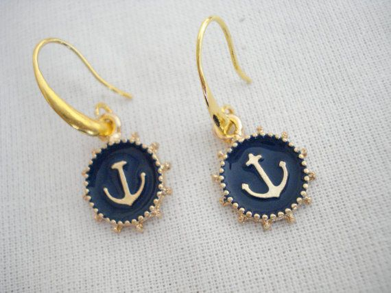 Blue anchor earrings Anchor charm dangles Nautical by Poppyg
