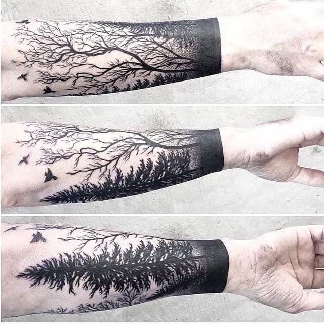 Best 25 forest tattoo arm ideas only on pinterest for Thin line tattoo artists near me