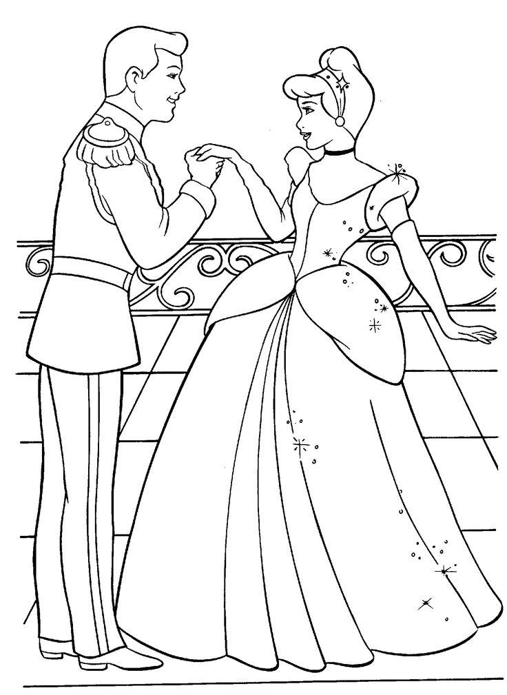 disney cinderella princess coloring pages