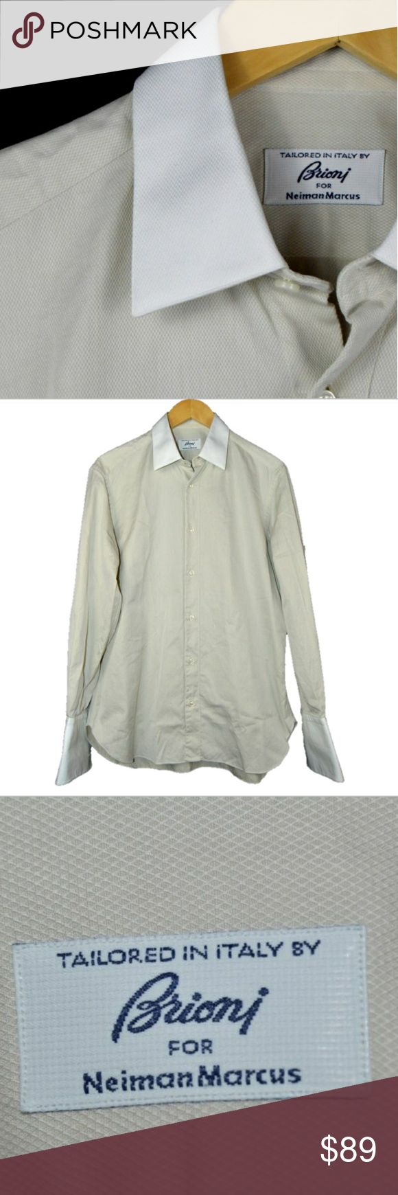 Brioni French cuff dress shirt beige w. white Brioni French cuff dress shirt beige w. white collar 15R Brioni Shirts Dress Shirts