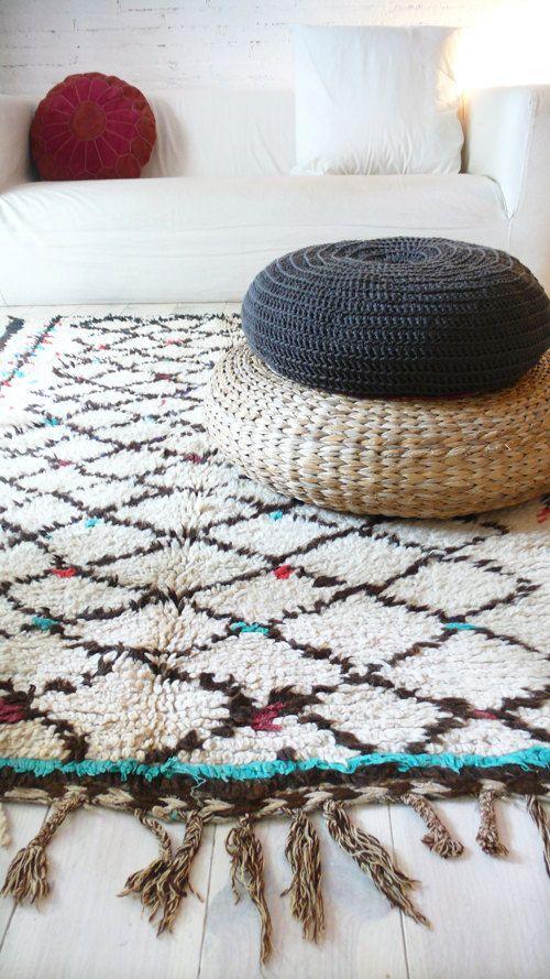 COLORI di tappeto vintage di marocchino tappeto - lana vergine naturale - AZILAL