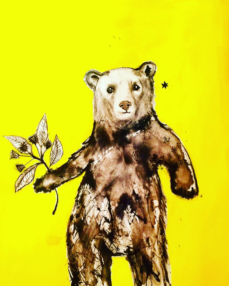 Healing Bear on acid yellow by Lizzie Reakes