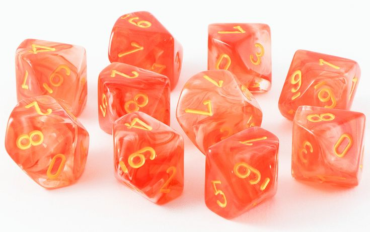 Ghostly Glow Dice (Orange); 10 X D10 Dice Set – Dark Elf Dice