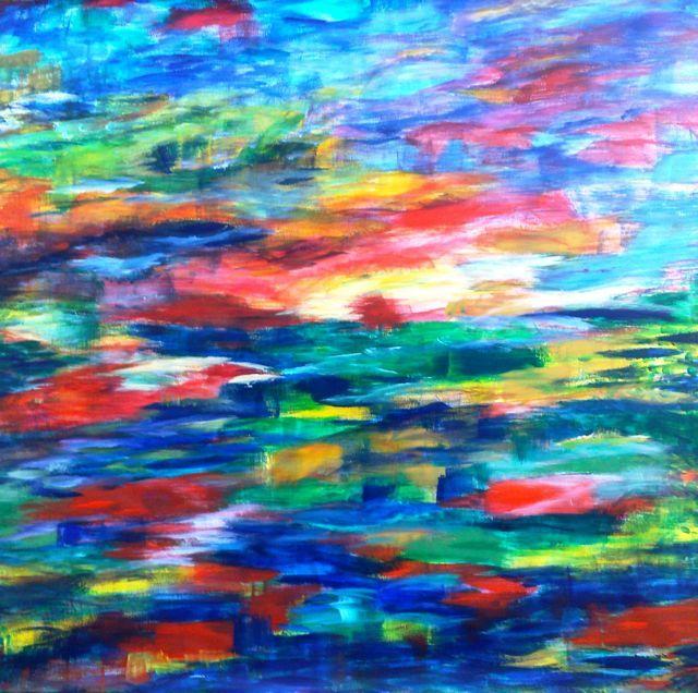 Droom | acryl op linnenpapier | ca 145 x 135 cm | ©Irka Stachiw #painting #acrylic #art www.irkastachiw.nl