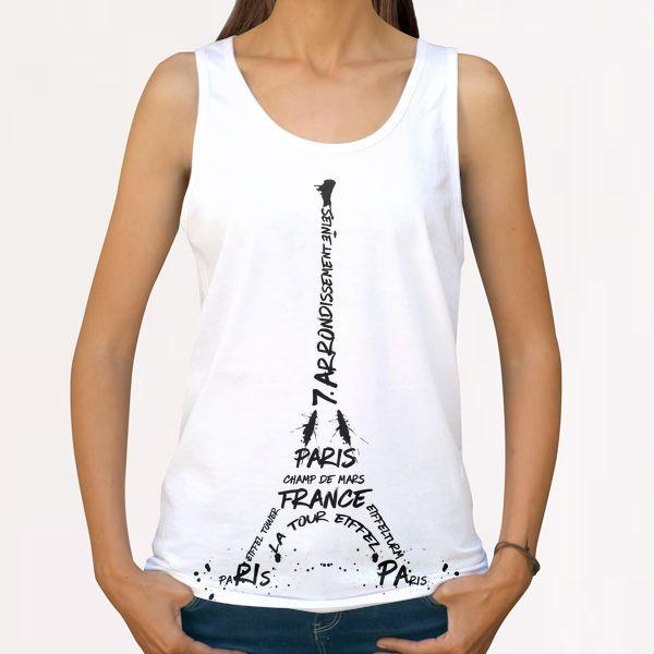 Digital-Art Eiffel Tower All Over Print Tanks by Melanie Viola
