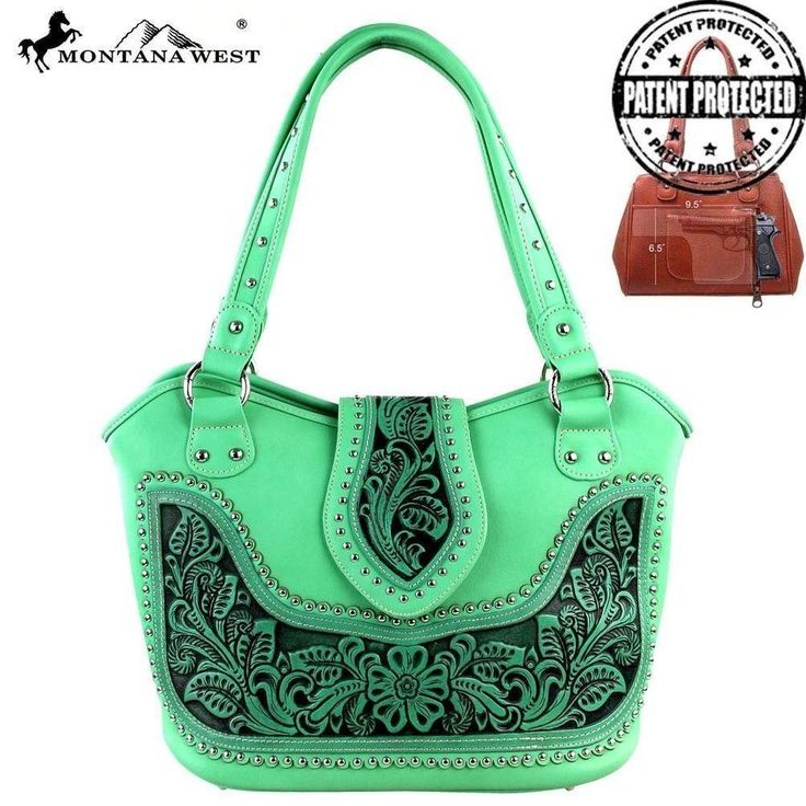 Montana West Tooling Concealed Handgun Collection Handbag WRLG-8005 Green  #MontanaWest #Hobo