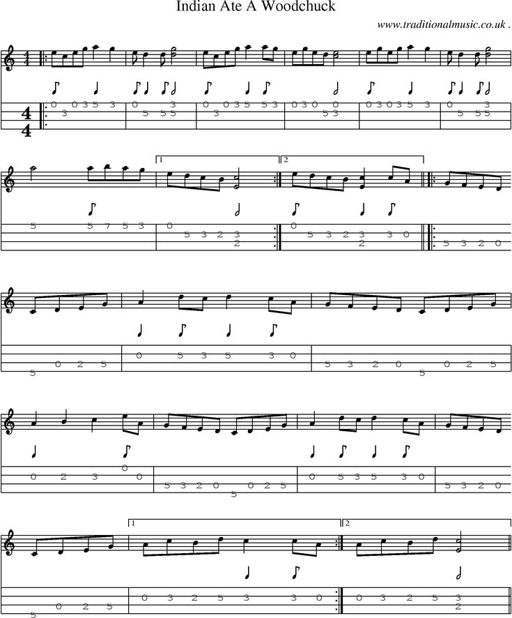 All Music Chords indian music sheet : Music Score and Guitar Tabs for Indian Ate A Woodchuck | Tunes ...