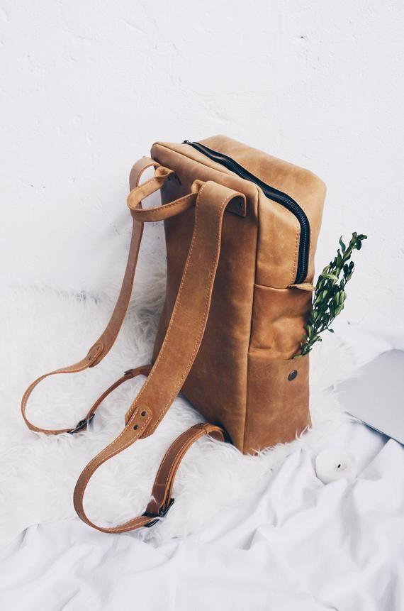 d673fd89040 Leather Backpack Bag, Traveling Backpack, Womans Backpack, Laptop ...