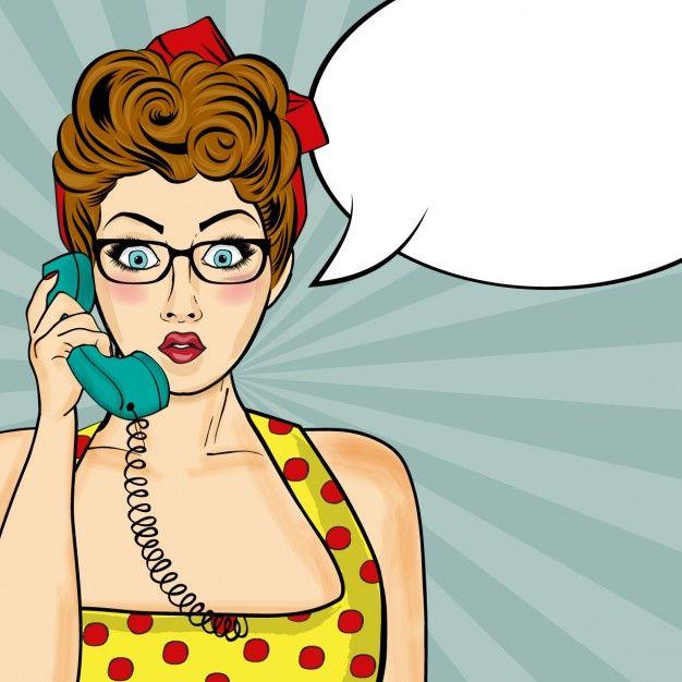 Pop femme art bavardant au téléphone rétro Comic femme avec bulle de la parole Vecteur gratuit