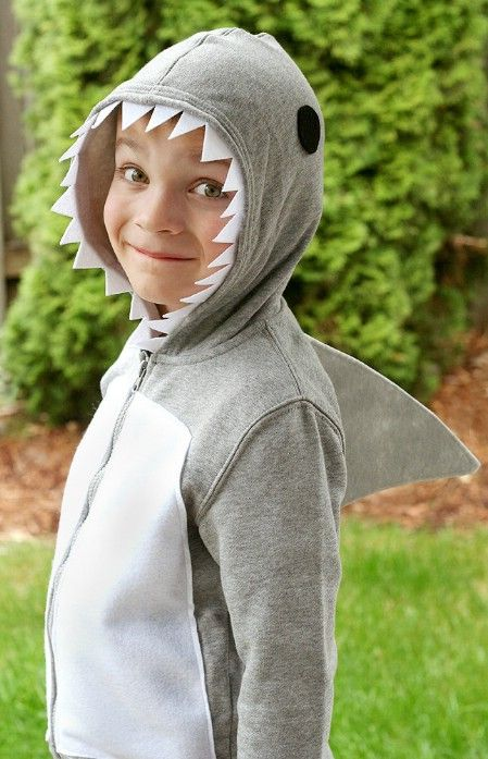 "Shark- gray zip up sweatshirt and gray sweat pants, ""teeth"" (glue white felt to the hood), fin (cardboard covered in gray paper or fabric) plus 60 Fun and Easy DIY Halloween Costumes Your Kids Will Love"