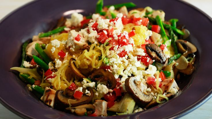 Richard Irvine's Grilled Chicken with Spaghetti Squash, Asparagus, Artichokes and Feta Cheese Recipe   Rachael Ray Show