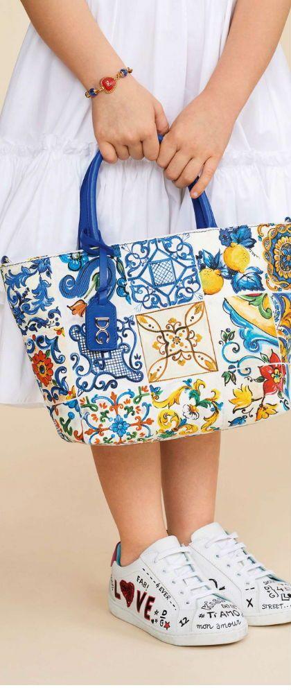 fff52993e9 Girls beautiful Majolica print bag by Dolce & Gabbana for Summer 2018.