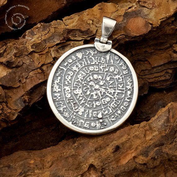 Phaistos Disk Silver Pendant Sterling Silver by CircleOfLifeGreece