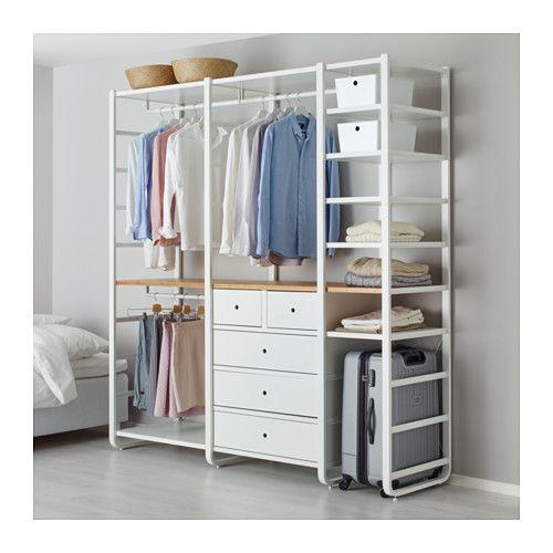 IKEA - ELVARLI, 3 elementen, Je kan deze open opbergoplossing altijd naar behoefte aanpassen of aanvullen. Misschien is de voorgestelde combinatie geschikt, anders kan je altijd een eigen maatwerkcombinatie samenstellen.Door de verstelbare planken en kledingroedes kan je de ruimte eenvoudig aanpassen aan de behoefte.Combineer bij voorkeur open en dichte opbergers - planken voor je lievelingspullen en lades voor dingen die je niet in het zicht wilt hebben.Heb je meer plaats bovenin nodig…