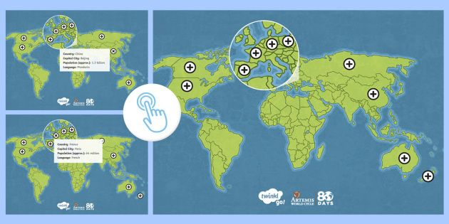Around the World in 80 Days Route Map Picture Hotspots ...