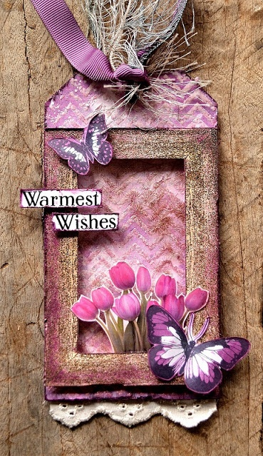 Tag created by Belinda Spencer using Darkroom Door Wooden Frame Stamp DDFR009, Butterflies Stamp Set DDRS025, Full Bloom Montage & Wordstrips.