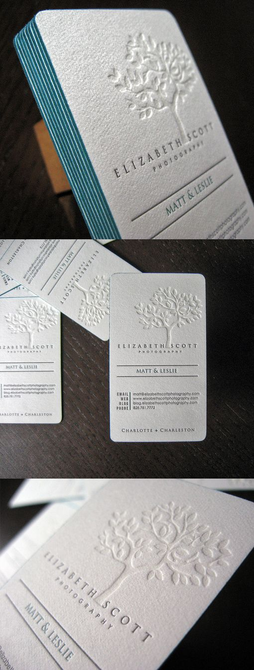 Business card ideas   blind-printing – which means letterpress printing with no ink, causing an embossed effect. Gives a clean, white-on-white effect (or whatever other color paper you use.) and then