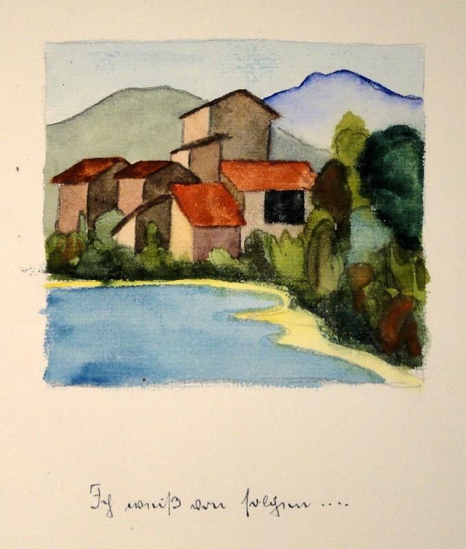 HERMANN HESSE (Calw 1877 - 1962 Montagnola).  Aquarell über Bleistift-Vorzeichnung mit handschriftlichem Gedicht und Titel in blauer Tinte. 1933.