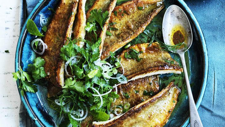 Pan-fried whiting with burnt butter and herb salad, 25th November 2014