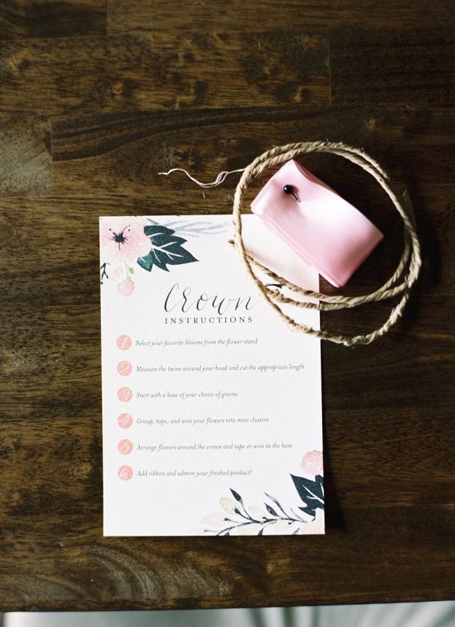 DIY floral crown instructions: http://www.stylemepretty.com/living/2015/11/09/fifty-shades-of-blush-bridal-shower/ | Photography: Untamed Heart Photography - http://untamedheartphotography.com/