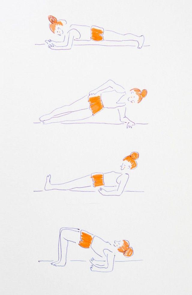 Exercices de gainage - Surtout les 2 premiers - y aller de manière progressive - tenir un peu plus chaque jour -