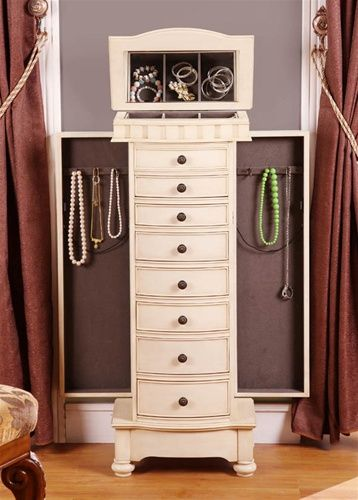 antique beige floor standing jewelry box for the home