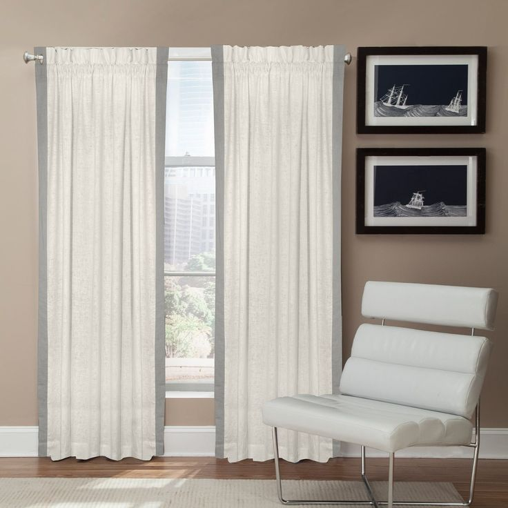 Grand Luxe Linen Central Park Rod Pocket Curtain Panel (84 - Gray), Grey, Size 54 x 84