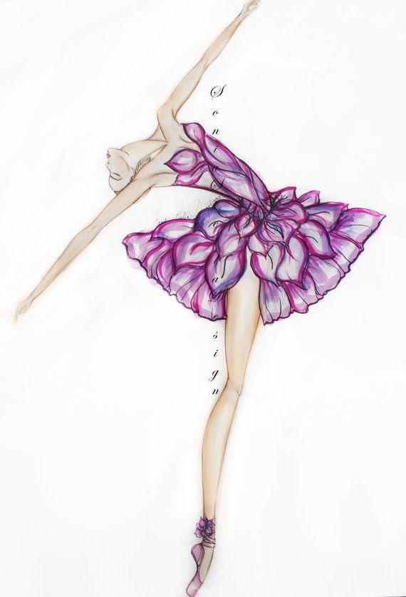 Ballerina Painting Fashion Illustration Wall Decor Art