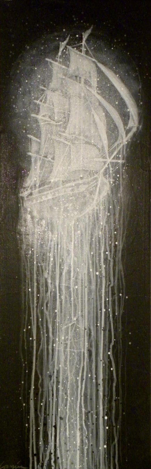"Bryan Keith Lanier, ""Man-O-War"",2010  (12"" X 36"")  acrylic,glitter,papier-mache',canvas,wood"